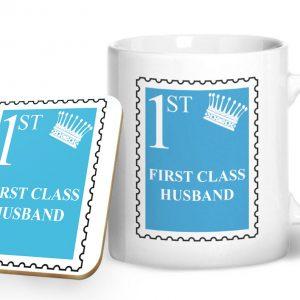 First Class Husband – Printed Mug & Coaster Gift Set