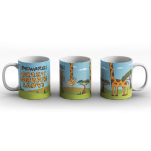 Crazy Giraffe Lady – Printed Mug