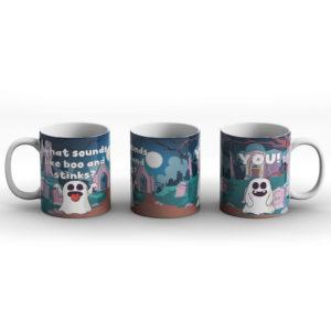 What sounds like boo and stinks? Ghost Boo joke – Printed Mug