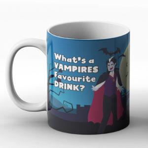 What's a Vampire's favourite drink? Vampire Drink joke – Printed Mug