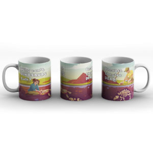 Why can't dinosaurs talk? Dinosaur joke – Printed Mug