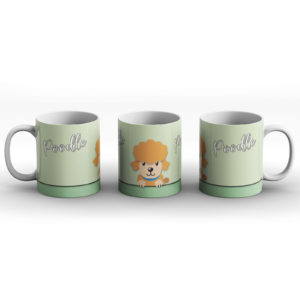 Poodle – Cute Dog Paws Pastel Design – Printed Mug