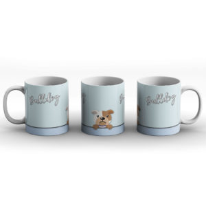 Bulldog – Cute Dog Paws Pastel Design – Printed Mug