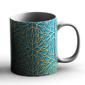 Geometric Pattern Design Triangles Teal Blue – Printed Mug