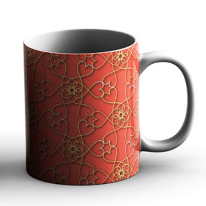 Geometric Pattern Design Hearts Peach – Printed Mug