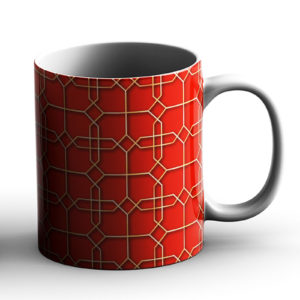 Geometric Pattern Design Rectangle Tiles Orange – Printed Mug
