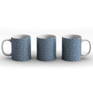 Geometric Pattern Design Maze Blue – Printed Mug