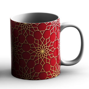 Geometric Pattern Design Star Bright Red – Printed Mug