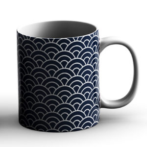 Japanese Traditional Geometric Pattern Design Seigaiha Waves – Printed Mug