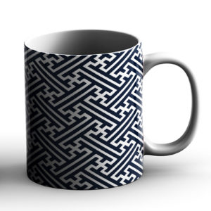 Japanese Traditional Geometric Pattern Design Sayagata  Crosses – Printed Mug
