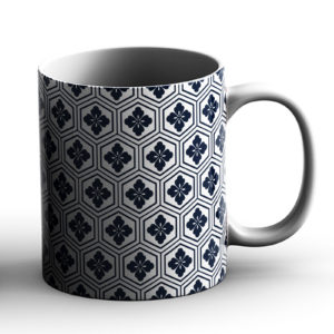 Japanese Traditional Geometric Pattern Design Kikko Hexagons – Printed Mug