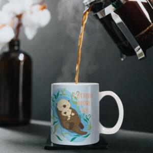 I Otterly Adore You – Cute Otter Design – Printed Mug