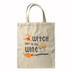 Witch Way To The Wine – Halloween Design – Tote Bag