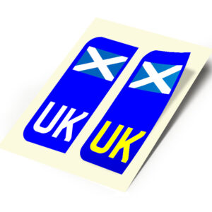 2 X New UK Car Reg- Number Plate Stickers –  Scotland Scottish Saltire Flag for Travel Abroad