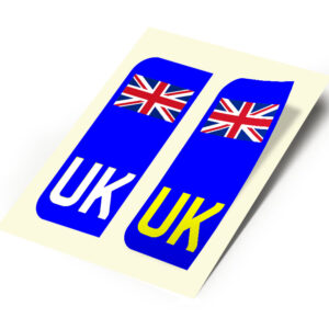 2 X New UK Car Reg- Number Plate Stickers –  United Kingdom Union Jack Flag for Travel Abroad