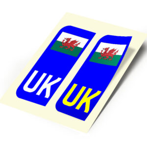 2 X New UK Car Reg- Number Plate Stickers –  Wales Flag for Travel Abroad