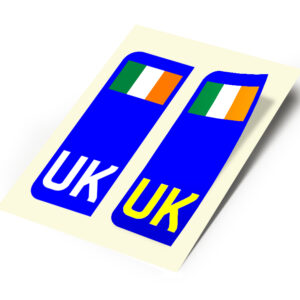2 X New UK Car Reg- Number Plate Stickers –  Ireland Flag for Travel Abroad