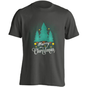 Christmas Clothing – Merry Christmas – Winter Forest – Black Adult T-shirt (SM-5XL)