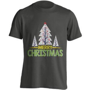 Christmas Clothing – Merry Christmas – Xmas Trees – Black Adult T-shirt (SM-5XL)