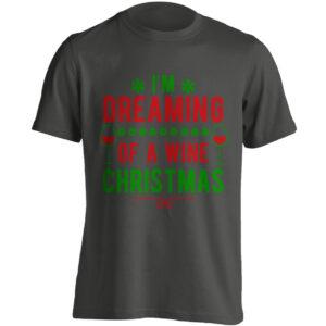 Christmas Clothing – I'm Dreaming Of A Wine Christmas – Black Adult T-shirt (SM-5XL)