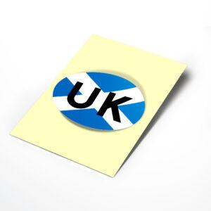 Scotland Flag UK Oval Bumper Sticker for Travel Abroad