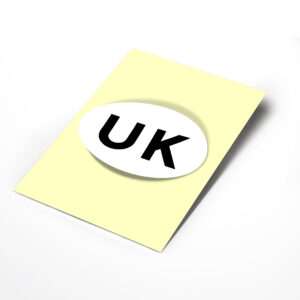 White UK Oval Bumper Sticker for Travel Abroad