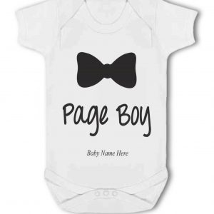 Page Boy with Personlised Name and/or Date for Wedding – Baby Vest