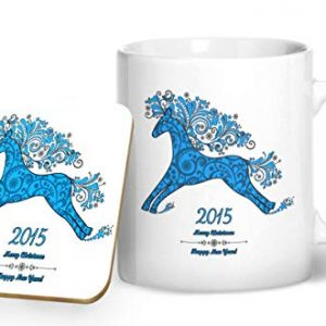 2015 Christmas and New Year Blue – Printed Mug & Coaster Gift Set