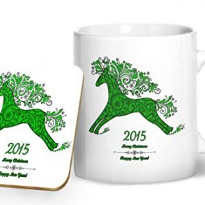 2015 Christmas and New Year Mug Green – Printed Mug & Coaster Gift Set
