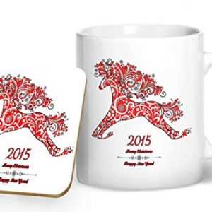 2015 Christmas and New Year Mug Red and White – Printed Mug & Coaster Gift Set