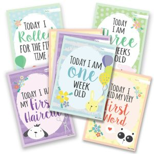 Pack of 26 Baby Milestone Cards ~ Unisex Boy Girl Memorable 1st Year Moments