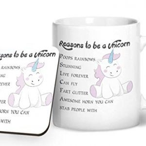 6 Reasons to be a Unicorn – Printed Mug & Coaster Gift Set