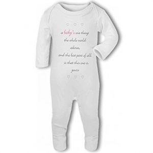 A Baby The Whole World Adores Pink Girl – Baby Romper Suit