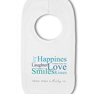 A Baby is Love, Happiness, Cuddles, Kisses, Smiles blue – Baby Pullover Bib