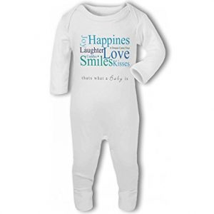 A Baby is Love, Happiness, Cuddles, Kisses, Smiles blue – Baby Romper Suit
