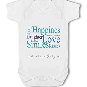 A Baby is Love, Happiness, Cuddles, Kisses, Smiles blue – Baby Vest