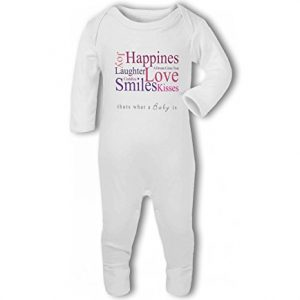 A Baby is Love, Happiness, Cuddles, Kisses, Smiles pink – Baby Romper Suit