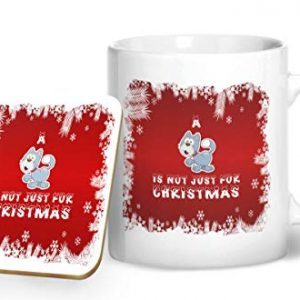A Cat is Not Just for Christmas – Printed Mug & Coaster Gift Set