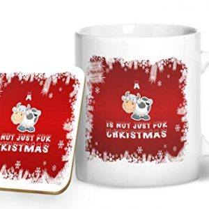 A Cow Is Not Just For Christmas Mug And Matching Coaster Set – Printed Mug & Coaster Gift Set