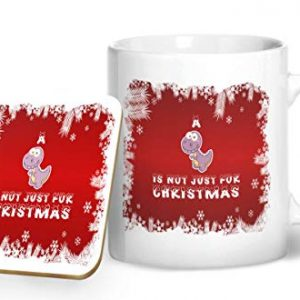 A Dinosaur is Not Just for Christmas – Printed Mug & Coaster Gift Set