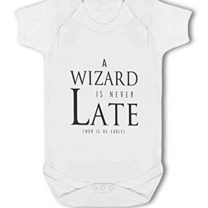 A Wizard is Never Late funny nerdy – Baby Vest
