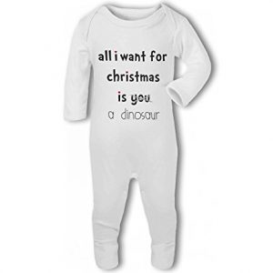 All I Want For Christmas Is A Dinosaur .funny – Baby Romper Suit