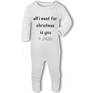 All I Want For Christmas Is A Puppy funny – Baby Romper Suit