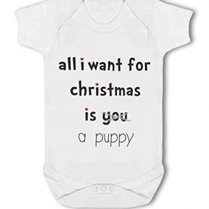All I Want For Christmas Is A Puppy .funny – Baby Vest