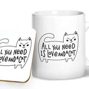 All You Need is Love and a Cat – Printed Mug & Coaster Gift Set