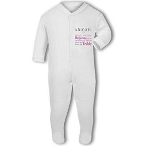 'Baby loves Daddy' fully personalised name and baby traits pink – Baby Grow