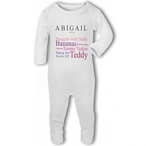 'Baby loves Daddy' fully personalised name and baby traits pink – Baby Romper Suit