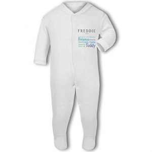'Baby loves Mummy' fully personalised name and baby traits blue – Baby Grow