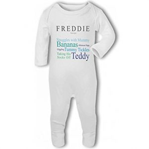 'Baby loves Mummy' fully personalised name and baby traits blue – Baby Romper Suit
