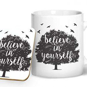 Believe in Yourself – Tree Design – Printed Mug & Coaster Gift Set